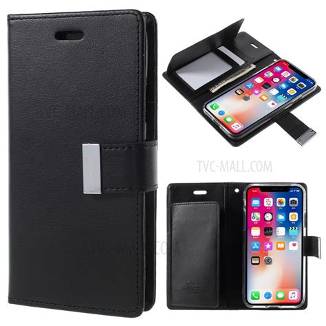 mercury goospery rich diary leather wallet for iphone x black tvc mall