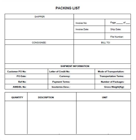 export packing list template 9 packing list templates free sles exles