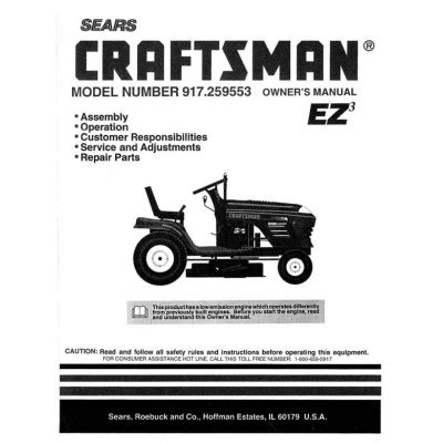 Sears Craftsman 917 259553 15 5 Hp Tractor Owner S Manual