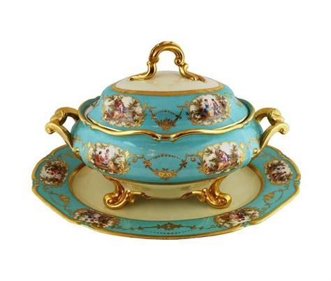large vintage porcelain platter blue aqua gold