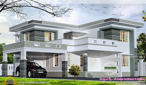 flat roof luxury home design kerala floor plans building 2875 square feet flat roof home kerala home design and