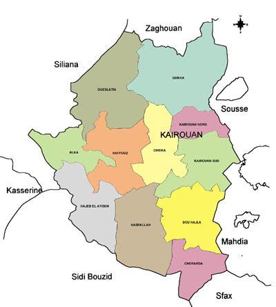 kairouan map kairouan governorate map tunisia
