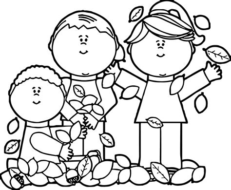 kids playing in leaves coloring page wecoloringpage