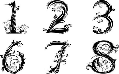 numerical tattoo designs pretty number font tatoos fonts number