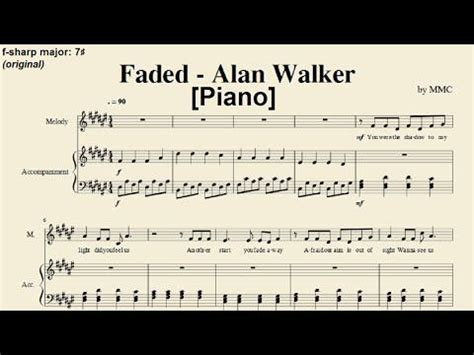 alan walker keyboard faded alan walker piano sheet music by mmc hard key