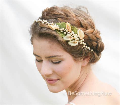 pearl headpiece vintage wax flower pearl headpiece vintage wedding headpiece