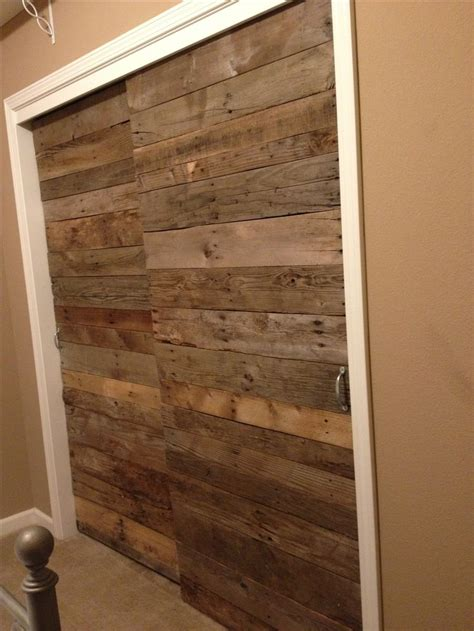 Wood Closet Doors Sliding Pallet Wood Sliding Closet Doors Pallets Repurposed