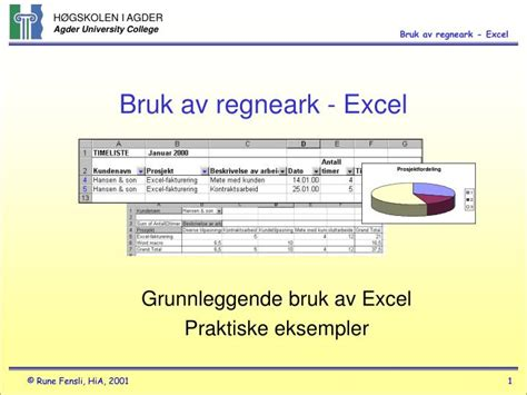 Ppt Bruk Av Regneark Excel Powerpoint Presentation Exle Powerpoint Presentation For