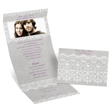 seal and send wedding invitations with photo rustic lace seal and send invitation s bridal bargains
