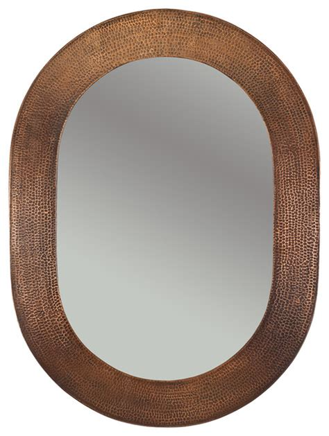Copper Bathroom Mirrors by Hammered Oval Copper Mirror Rustic Bathroom Mirrors