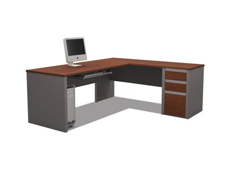 Wooden L Shaped Office Desk L Shaped Clear Coating Maple Wood Office Table With Drawers Using Silver Metal Handle
