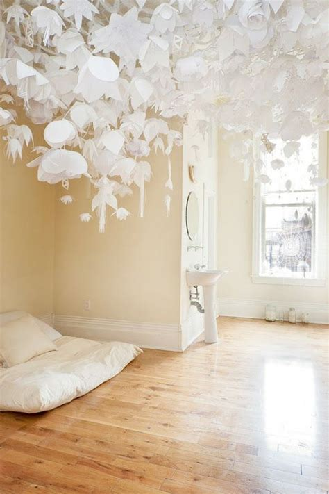 Paper Ceiling by Hanging Paper Flower Installation Small Spaces