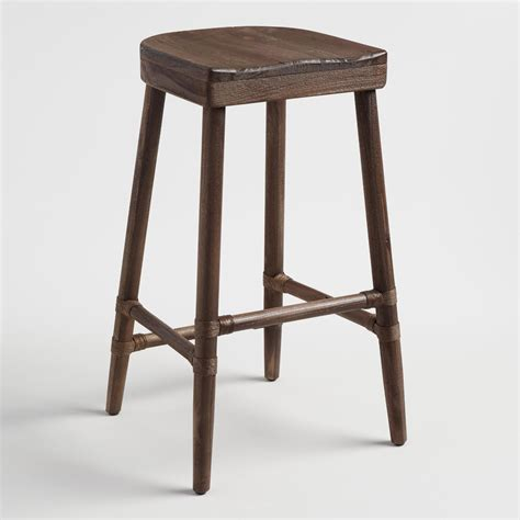 Brown Saddle Bar Stools by Walnut Brown Wood Kaja Barstool With Saddle Seat World
