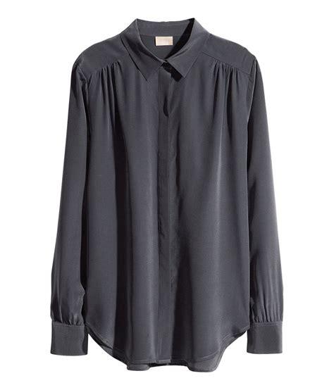 Blouse Lace Grey grey blouse womens lace henley blouse