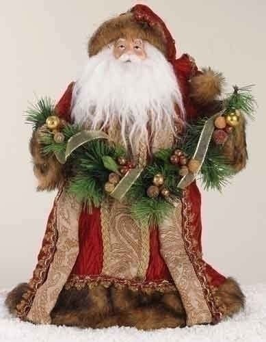 decorations 14 quot santa tree topper in burgundy robe with fur trim
