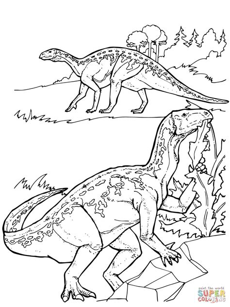cool dinosaurs coloring pages iguanodon dinosaurs coloring page free printable
