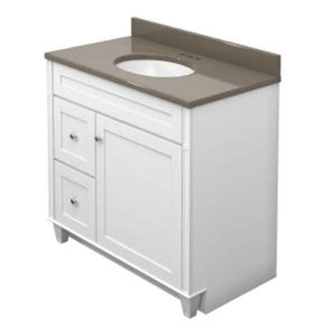 Home Depot Kraftmaid Bathroom Vanity Kraftmaid 36 In Vanity In Dove White With Quartz