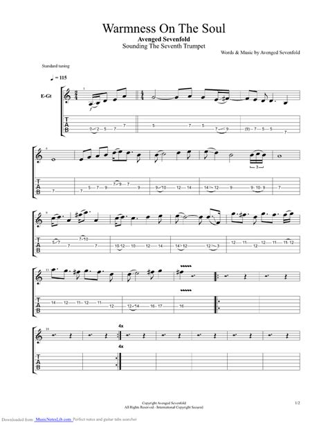 Warmness On The Soul guitar pro tab by Avenged Sevenfold