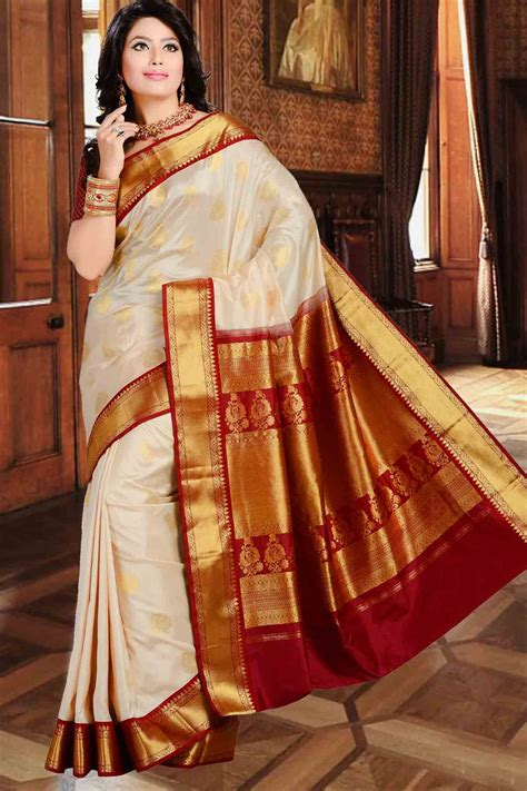 Cheap Online Shopping Home Decor buy cream pure silk zari weaved saree in maroon amp gold