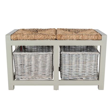 wicker storage benches grey wooden bench with wicker baskets two three seater