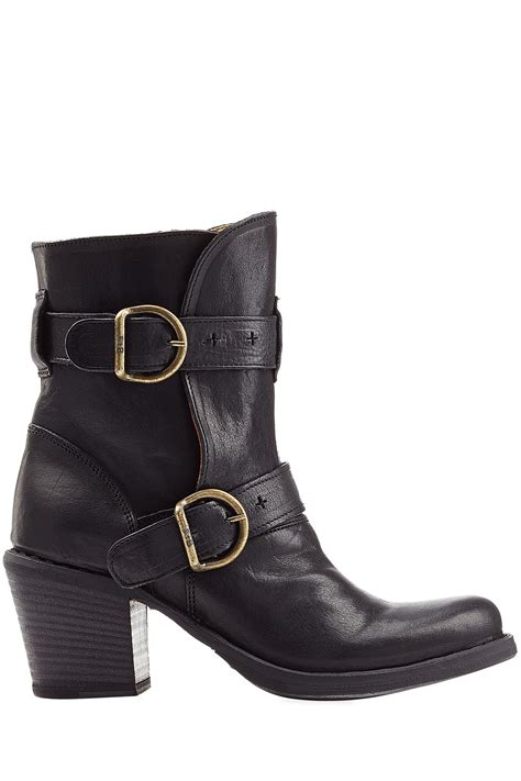 buckle boots fiorentini baker laverne lena stacked heel leather