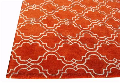 Sale Brand New Pottery Barn Scroll Tile Orange Handmade Orange Rug