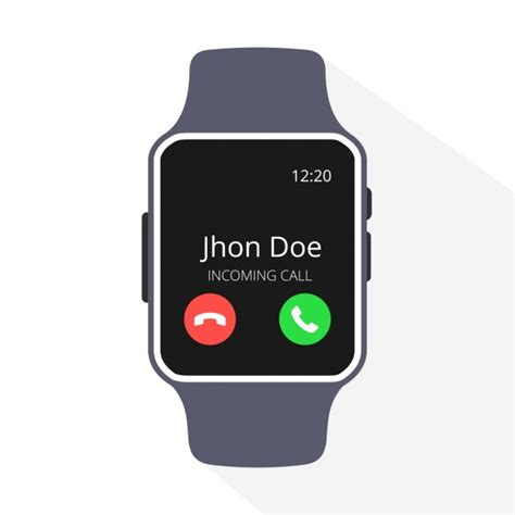 Smartwatch Vector Smartwatch With Incoming Call On Display Vector Free
