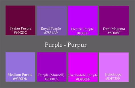 names of purple shades of purple color shades of purple color unique the