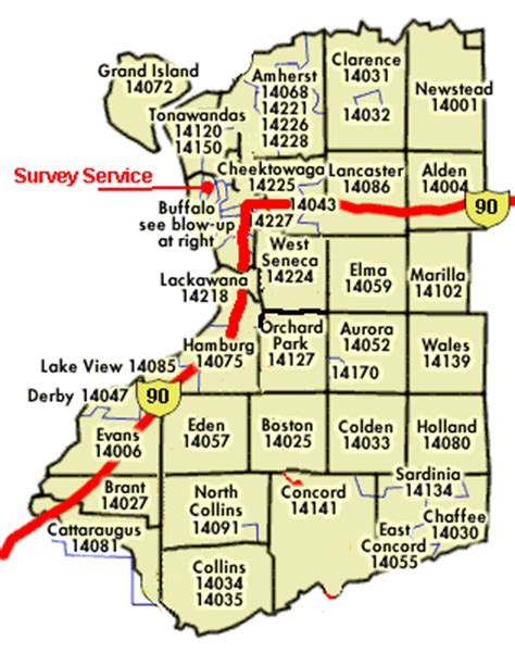 zip code map western ny survey service