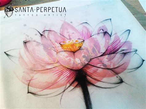 watercolor lotus flower tattoo lotus flower graphic style drawing by santa