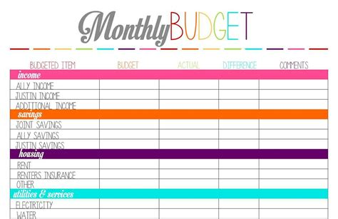 printable monthly budget template   Spreadsheets