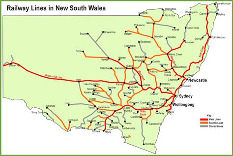map of nsw australia new south wales railway map