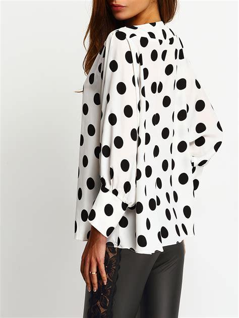 Batwing Polka polka dots batwing sleeve blouse shein sheinside