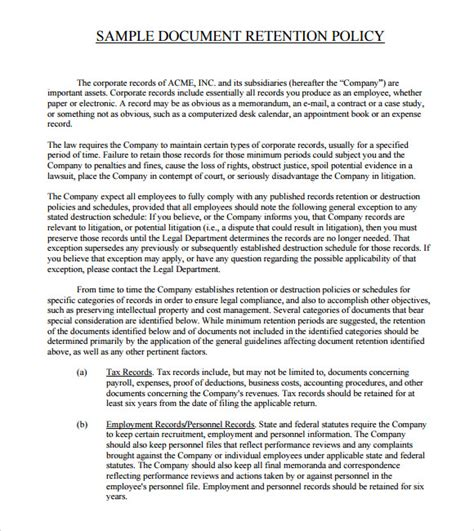 email retention policy template document retention policy 7 documents in pdf