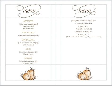 thanksgiving menu template full serive menu