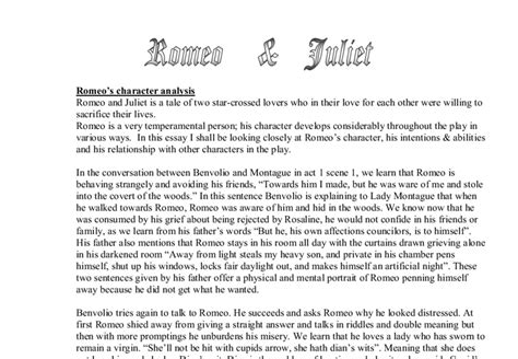 Romeo And Juliet Character Analysis Essay Prompt by Learning Center Graduate School Essay Tips