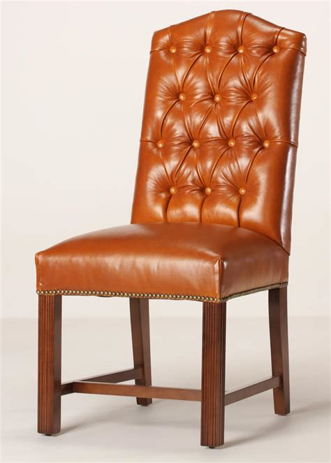 leather tufted camel  dining chair