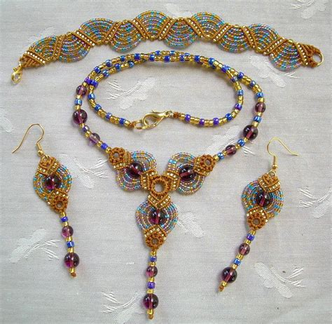 Free Micro Macrame Patterns - micro macrame pattern classic fans jewelry set