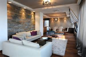 architecture awesome living room with stone wall behind