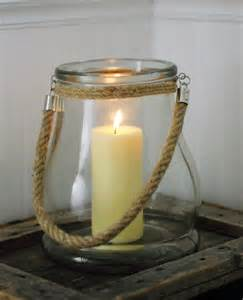 Hurricane Lantern Candle Farmhouse Musings New Jericho Bay Glass And Rope Candle