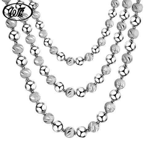 925 Sterling Silver Beaded aliexpress buy wk new engraved chain necklace