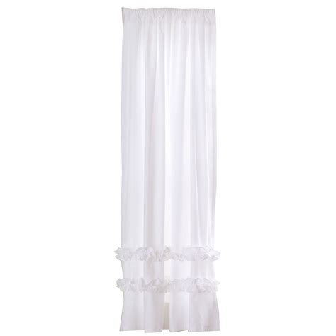 white ruffle curtain panel 84 quot ruffle curtain panel white the land of nod