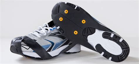 running shoes for snow and spiky cleats industrial strength cleats