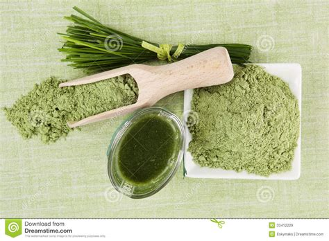 Wheatgrass Detox Diet Plan by Green Superfood Background Royalty Free Stock Images