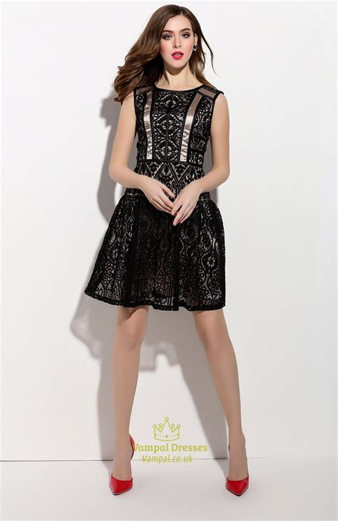 Sleeveless Lace Cocktail Dress black sleeveless lace overlay cocktail dress