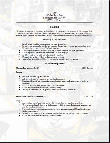 Cashier Resume Exles by Cashier Resume Occupational Exles Sles Free Edit