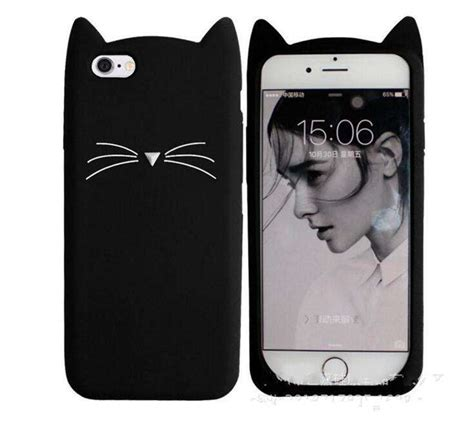 Iphone 7 Plus Soft 3d White Cat Casing Tpu Cover Bumper Armor 3d cat beard silicone for iphone 7 plus adorable animal iphone 5s se 5 6s 6 back phone