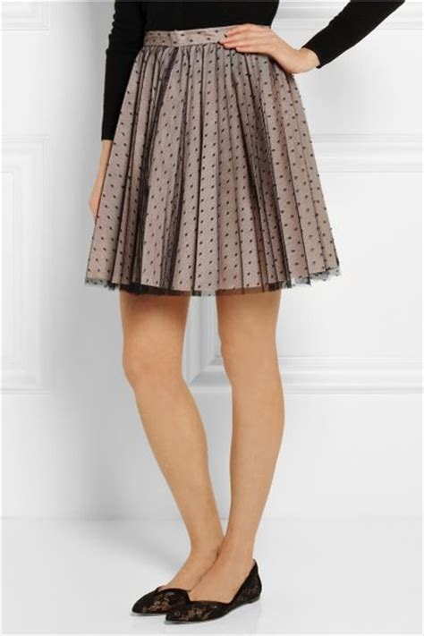 valentino pleated point d esprit and satin mini skirt