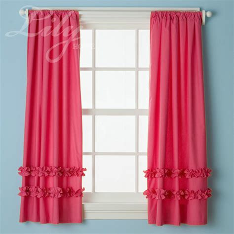 Ruffled Pink Curtains Aliexpress Buy Pink Ruffled Curtain Panels 100 Cotton For S Room Princess
