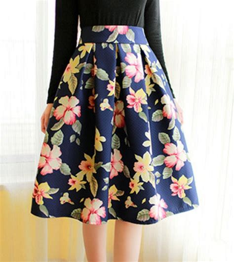 vintage high waisted floral print ruffled midi skirt for